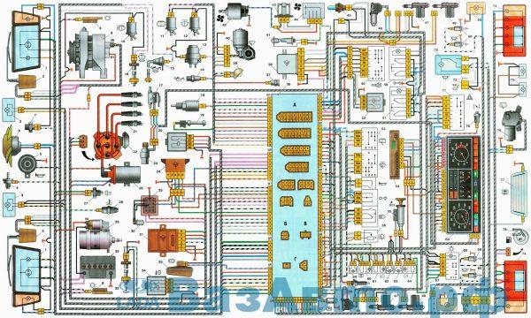 Cхема электрооборудования автомобиля ВАЗ-2109i